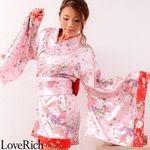 <Love Rich>和柄ミニ丈着物ドレス 和柄 衣装 花魁 キャバドレス (ピンク)(衣装・コスチューム)