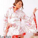 <Love Rich>和柄ミニ丈着物ドレス 和柄 衣装 花魁 キャバドレス (ホワイト)(衣装・コスチューム)