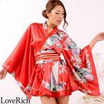 <Love Rich>孔雀柄ミニ着物ドレス 和柄 衣装 花魁 キャバドレス (レッド)(衣装・コスチューム)