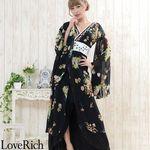 <Love Rich>フラワーシフォンロング着物ドレス 和柄 衣装 花魁 キャバドレス (ブラック)(衣装・コスチューム)