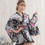 <Love Rich>ゴールドパイピングフリルサテンミニ着物ドレス 和柄 花魁 キャバドレス (ブラック)(衣装・コスチューム)