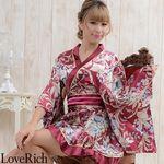 <Love Rich>ゴールドパイピングフリルサテンミニ着物ドレス 和柄 花魁 キャバドレス (ワイン)(衣装・コスチューム)