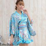 <Love Rich>ゴールドパイピングフリルサテンミニ着物ドレス 和柄 花魁 キャバドレス (ブルー)(衣装・コスチューム)