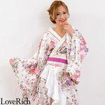 <Love Rich>帯付きゴールドパイピングフリル花魁着物ロングドレス (白)(衣装・コスチューム)