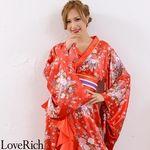 <Love Rich>帯付きゴールドパイピングフリル花魁着物ロングドレス (赤)(衣装・コスチューム)