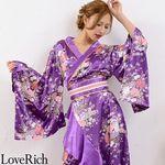 <Love Rich>帯付きゴールドパイピングフリル花魁着物ロングドレス (パープル)(衣装・コスチューム)