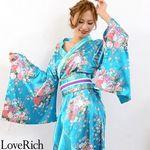<Love Rich>帯付きゴールドパイピングフリル花魁着物ロングドレス (ブルー)(衣装・コスチューム)