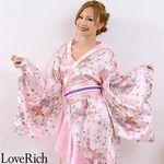 <Love Rich>帯付きゴールドパイピングフリル花魁着物ロングドレス (ピンク)(衣装・コスチューム)