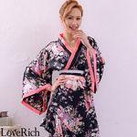 <Love Rich>帯付きななめカットフリル花魁着物ロングドレス (ブラック)(衣装・コスチューム)