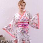 <Love Rich>帯付きななめカットフリル花魁着物ロングドレス (ホワイト)(衣装・コスチューム)