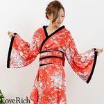 <Love Rich>帯付きななめカットフリル花魁着物ロングドレス (レッド)(衣装・コスチューム)