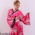 <Love Rich>帯付きななめカットフリル花魁着物ロングドレス (チェリー)(衣装・コスチューム)