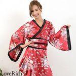 <Love Rich>帯付きななめカットフリル花魁着物ロングドレス (ワイン)(衣装・コスチューム)