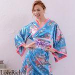 <Love Rich>帯付きななめカットフリル花魁着物ロングドレス (ブルー)(衣装・コスチューム)