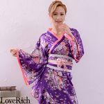<Love Rich>帯付きななめカットフリル花魁着物ロングドレス (パープル)(衣装・コスチューム)