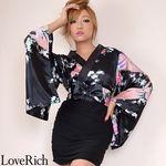 <Love Rich>リボン付きサテン孔雀柄&ストレッチギャザーミニ花魁着物ドレス (黒)(衣装・コスチューム)