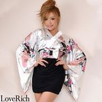 <Love Rich>リボン付きサテン孔雀柄&ストレッチギャザーミニ花魁着物ドレス (白)(衣装・コスチューム)