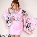<Love Rich>リボン付きサテン孔雀柄&ストレッチギャザーミニ花魁着物ドレス (ピンク)(衣装・コスチューム)