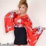 <Love Rich>リボン付きサテン孔雀柄&ストレッチギャザーミニ花魁着物ドレス (赤)(衣装・コスチューム)