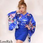 <Love Rich>リボン付きサテン孔雀柄&ストレッチギャザーミニ花魁着物ドレス (ロイヤルブルー)(衣装・コスチューム)