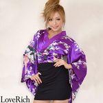 <Love Rich>リボン付きサテン孔雀柄&ストレッチギャザーミニ花魁着物ドレス (パープル)(衣装・コスチューム)