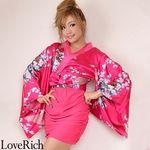 <Love Rich>リボン付きサテン孔雀柄&ストレッチギャザーミニ花魁着物ドレス (チェリーチェリー)(衣装・コスチューム)