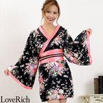 <Love Rich>サテン和柄花魁KIMONOミニドレス 花魁 キャバドレス (黒)(衣装・コスチューム)