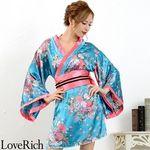 <Love Rich>サテン和柄花魁KIMONOミニドレス 花魁 キャバドレス (ブル)(衣装・コスチューム)