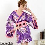 <Love Rich>サテン和柄花魁KIMONOミニドレス 花魁 キャバドレス (パープル)(衣装・コスチューム)