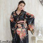 <Love Rich>帯付き花魁着物ロングドレス (黒)(衣装・コスチューム)