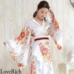 <Love Rich>帯付き花魁着物ロングドレス (白)(衣装・コスチューム)
