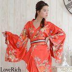 <Love Rich>帯付き花魁着物ロングドレス (赤)(衣装・コスチューム)