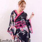 <Love Rich>孔雀和柄花魁着物ロングドレス コスチューム 衣装 キャバドレス (黒)(衣装・コスチューム)