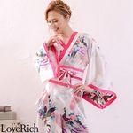 <Love Rich>孔雀和柄花魁着物ロングドレス コスチューム 衣装 キャバドレス (白)(衣装・コスチューム)