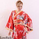 <Love Rich>孔雀和柄花魁着物ロングドレス コスチューム 衣装 キャバドレス (赤)(衣装・コスチューム)