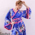 <Love Rich>孔雀和柄花魁着物ロングドレス コスチューム 衣装 キャバドレス (ロイヤルブルー)(衣装・コスチューム)