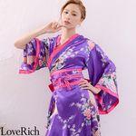 <Love Rich>孔雀和柄花魁着物ロングドレス コスチューム 衣装 キャバドレス (パープル)(衣装・コスチューム)