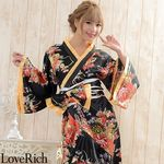 <Love Rich>花魁風帯付き総和柄サテン裾フリルロングドレス (黒)(衣装・コスチューム)