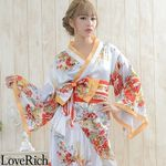 <Love Rich>花魁風帯付き総和柄サテン裾フリルロングドレス (白)(衣装・コスチューム)