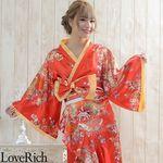 <Love Rich>花魁風帯付き総和柄サテン裾フリルロングドレス (赤)(衣装・コスチューム)