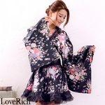 <Love Rich>オーガンジーフリルサテン和柄花魁ミニ着物ドレス (黒)(衣装・コスチューム)
