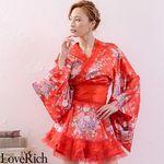 <Love Rich>オーガンジーフリルサテン和柄花魁ミニ着物ドレス (赤)(衣装・コスチューム)