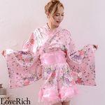<Love Rich>オーガンジーフリルサテン和柄花魁ミニ着物ドレス (ピンク)(衣装・コスチューム)