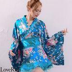 <Love Rich>オーガンジーフリルサテン和柄花魁ミニ着物ドレス (ブルー)(衣装・コスチューム)