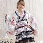 <Love Rich>レースフリルリボン付きサテン花魁着物ドレス (白)(衣装・コスチューム)