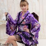 <Love Rich>レースフリルリボン付きサテン花魁着物ドレス (パープル)(衣装・コスチューム)