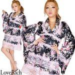 <Love Rich>レースフリルリボン付きサテン花魁着物ドレス (黒/ピンクレース)(衣装・コスチューム)