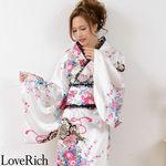 <Love Rich>レースフリルリボン付きロングサテン花魁着物ドレス (白)(衣装・コスチューム)