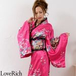 <Love Rich>レースフリルリボン付きロングサテン花魁着物ドレス (チェリーピンク)(衣装・コスチューム)