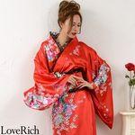 <Love Rich>レースフリルリボン付きロングサテン花魁着物ドレス (赤)(衣装・コスチューム)